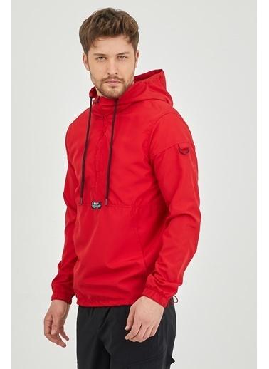XHAN Saks Kanguru Cepli Yağmurluk  Kırmızı